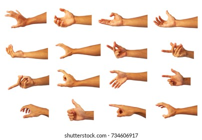 right Hand Collection in gestures of asian man.for show to symbol of hand.