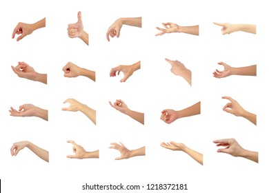 right hand collection multiple of Asian in gestures show are symbol isolated on white background