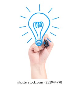 Right hand draw a bulb with blue marker isolated on white background