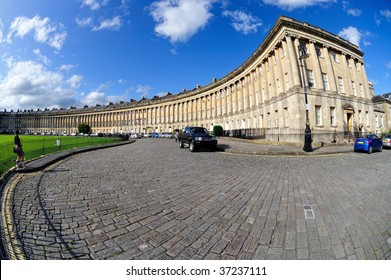 Right hand end of Royal Crescent, Bath, Somerset, England, UK