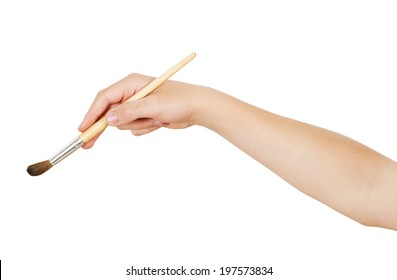 Right hand holding aquarelle brush, isolated on white, clipping path