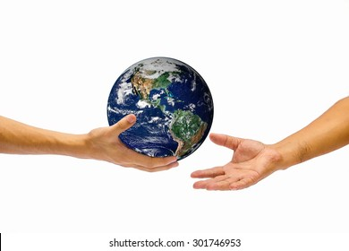 right hand holding globe and give to other hand. Elements of this image furnished by NASA