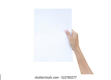 Right hand holding sheet of paper isolated on white background.
