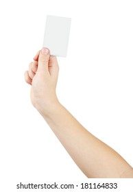 Right hand holding white empty card, isolated on white, clipping path