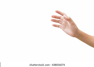 right hand of a man trying to reach or grab something. fling, touch sign. Reaching out to the left. isolated on white background