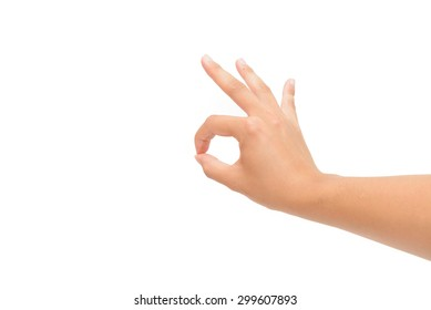 Right hand OK sign isolated on white background