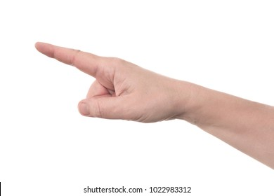 Right hand pointing index finger shows to the top left - human hand gesture isolated on white background with copyspace