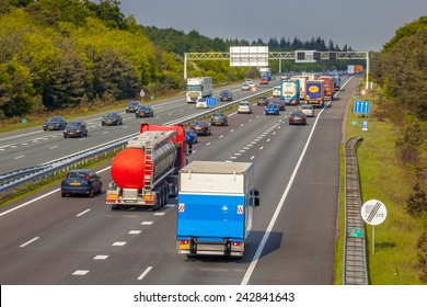 Right hand side Evening freeway Traffic on the A12 Motorway. One of the Bussiest highways in the Netherlands