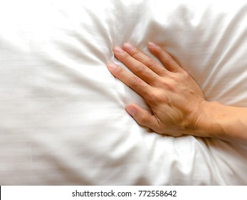 Right hand woman pressure pillow or bedding. Soft pillow good sleep, good health. Flat Lay. Copy Space.