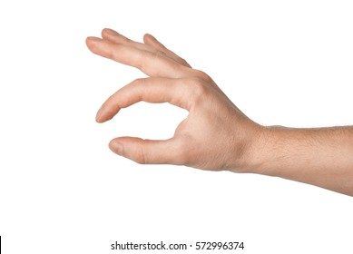Right hand of a young man keeps. Isolated on white background