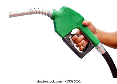 Right hands of men who were holding an automatic nozzle to make refill oil, isolated on white background