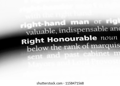 right honourable word in a dictionary. right honourable concept.