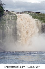 Right jet of the Hacha waterfall in the lagoon of Canaima national park - Venezuela, Latin America