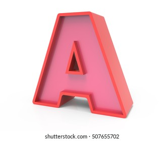right leaning 3d rendering red building block letter A isolated white background, toylike alphabet for design