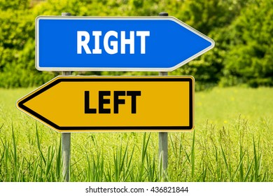 RIGHT - LEFT. Abstract yellow and blue road arrow highway directions signs on green field background, Germany. Sign posts, different directions.
