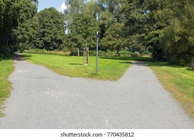Right or left. A fork in the road in a public park