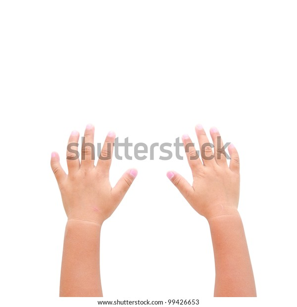 Right and left hands calling for help on white background
