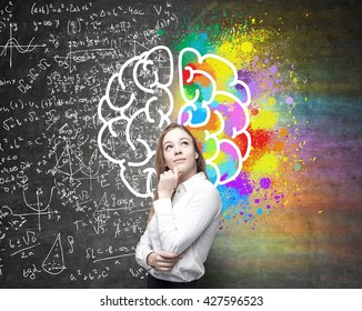 Right and left hemispheres, creative and analytical thinking concept with thoughtful businesswoman on background divided into colorful and mathematical formula walls
