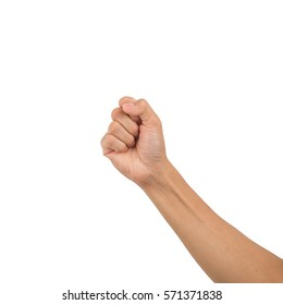 Right male hand - raised up clenched fist, isolated on white background