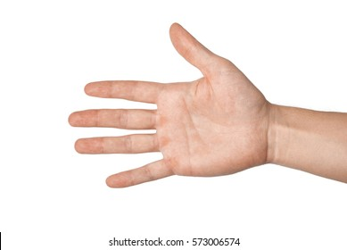Right palm hand of a young man keeps. Isolated on white background