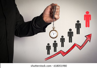 Right partner from many candidates business concept. Red Arrow and Icons Around. Man holding chain clock on white background