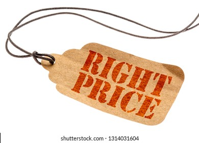 right price sign - a paper tag with a twine isolated on white