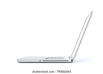 Right side view of Laptop isolated on white background, Aluminum body