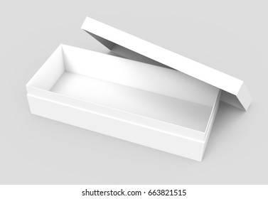 right tilt white 3d rendering blank open rectangular box with box separate lid, casually placed, isolated gray background, top view
