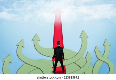 Right way arrow and business man thinking solution