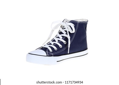 Right womens high top lace up dark navy blue sneaker isolated on white background