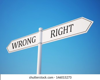Right and Wrong Signpost with Clipping Path