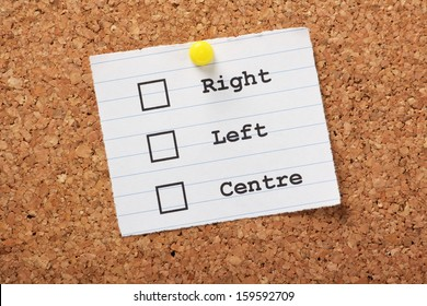Right,Left or Centre tick boxes on a paper note pinned to a cork notice board, allowing you to express your political views or preferences.