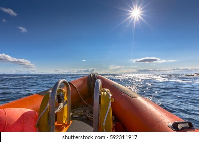 Rigid inflatable boat out on sea on a sunny day