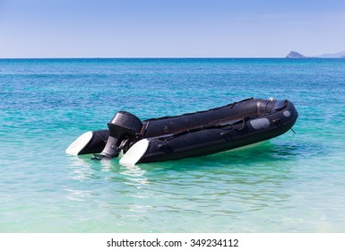 Rigid inflatable boat (RIB) in the sea