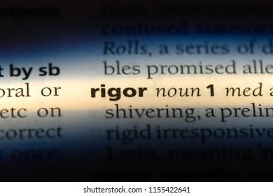 rigor word in a dictionary. rigor concept.