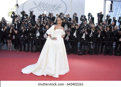 Rihanna attends the Okja premiere during the 70th annual Cannes Film Festival at Palais des Festivals on May 19, 2017 in Cannes, France.