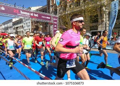 RIJEKA - APRIL 22, 2018: The 22. Rijeka Marathon. People running through the city streets. Croatia on April 22, 2018.