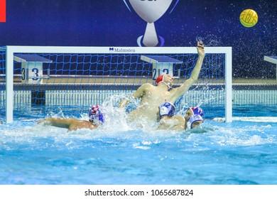 RIJEKA, CROATIA April 7: LEN Water Polo Europa Cup, Men's SUPER FINAL, RIJEKA (CRO). Marko Bijac, goalkeeper of Croatia wins epic match against Serbia, on April 7, 2018 in Rijeka