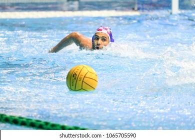 RIJEKA, CROATIA April 7: LEN Water Polo Europa Cup, Men's SUPER FINAL, RIJEKA (CRO). Javier Garcia. Croatia wins epic match against Serbia, on April 7, 2018 in Rijeka