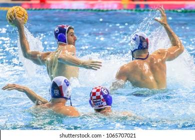 RIJEKA, CROATIA April 7: LEN Water Polo Europa Cup, Men's SUPER FINAL, RIJEKA (CRO). Maro Jokovic of Croatia wins epic match against Serbia, on April 7, 2018 in Rijeka
