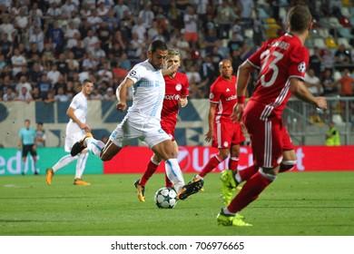 RIJEKA, CROATIA - August 22, 2017:  Mate Males of Rijeka during the UEFA Champions League play-off match between HNK Rijeka and Olympiacos FC at HNK Rijeka Stadium