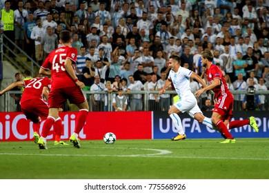 RIJEKA, CROATIA - August 22, 2017: Mario Gavranovic during the UEFA Champions League play-off soccer match between HNK Rijeka and Olympiacos FC at HNK Rijeka Stadium