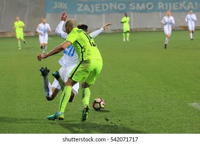 RIJEKA, CROATIA - DECEMBER 17: soccer match between HNK Rijeka and Istra 1961 (1. Croatian soccer league) 2016. in Rijeka, Croatia.