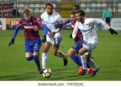 RIJEKA, CROATIA - December 2, 2017: Soccer players in match between HNK Rijeka and HNK Hajduk at HNK Rijeka Stadium