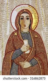 RIJEKA, CROATIA - MAY 06: Virgin Mary, mosaic, Chapel in monastery of the Sisters of Charity of St. Vincent de Paul in Rijeka, Croatia on May 06, 2013