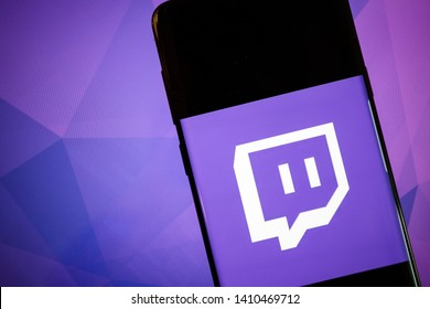 Rijeka, Croatia - May 28, 2019 - Twitch Livestream Multiplayer Games and Esports app on smartphone screen close-up on Android mobile phone.