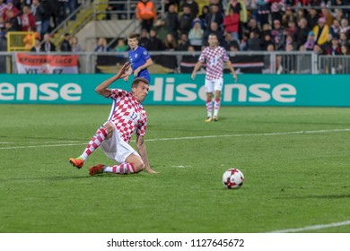 RIJEKA, CROATIA - OCTOBER 06, 2017: European qualifier for 2018 FIFA World Cup Russia. Croatia vs Finland. Mario MANDZUKIC (17) in action
