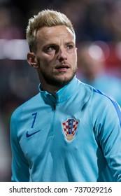 RIJEKA, CROATIA - OCTOBER 06, 2017: European qualifier for 2018 FIFA World CUp Russia. Croatia vs Finland. Ivan Rakitic (7) close up