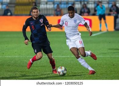 RIJEKA, CROATIA - OCTOBER 12, 2018: UEFA Nations League - Group stage - Group A4 - Matchday 3. Croatia VS England.  Mateo Kovacic (8) and Marcus Rashford (11)