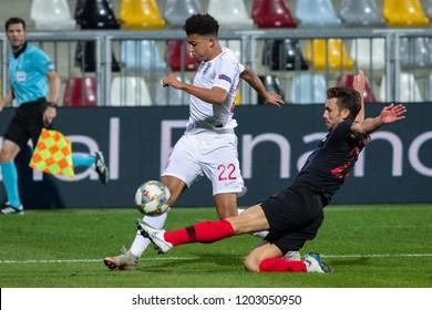RIJEKA, CROATIA - OCTOBER 12, 2018: UEFA Nations League - Group stage - Group A4 - Matchday 3. Croatia VS England. Jadon Sancho (22) and Josip Pivaric (22)